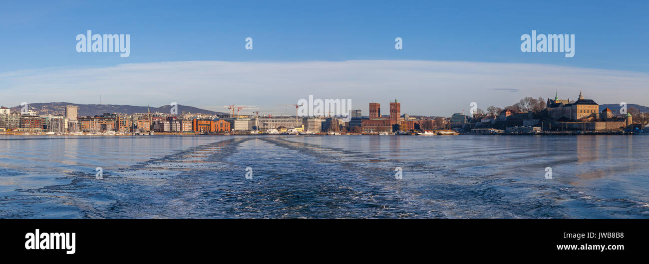 Panoramic view on Oslo fortress and the harbor. - Stock Image
