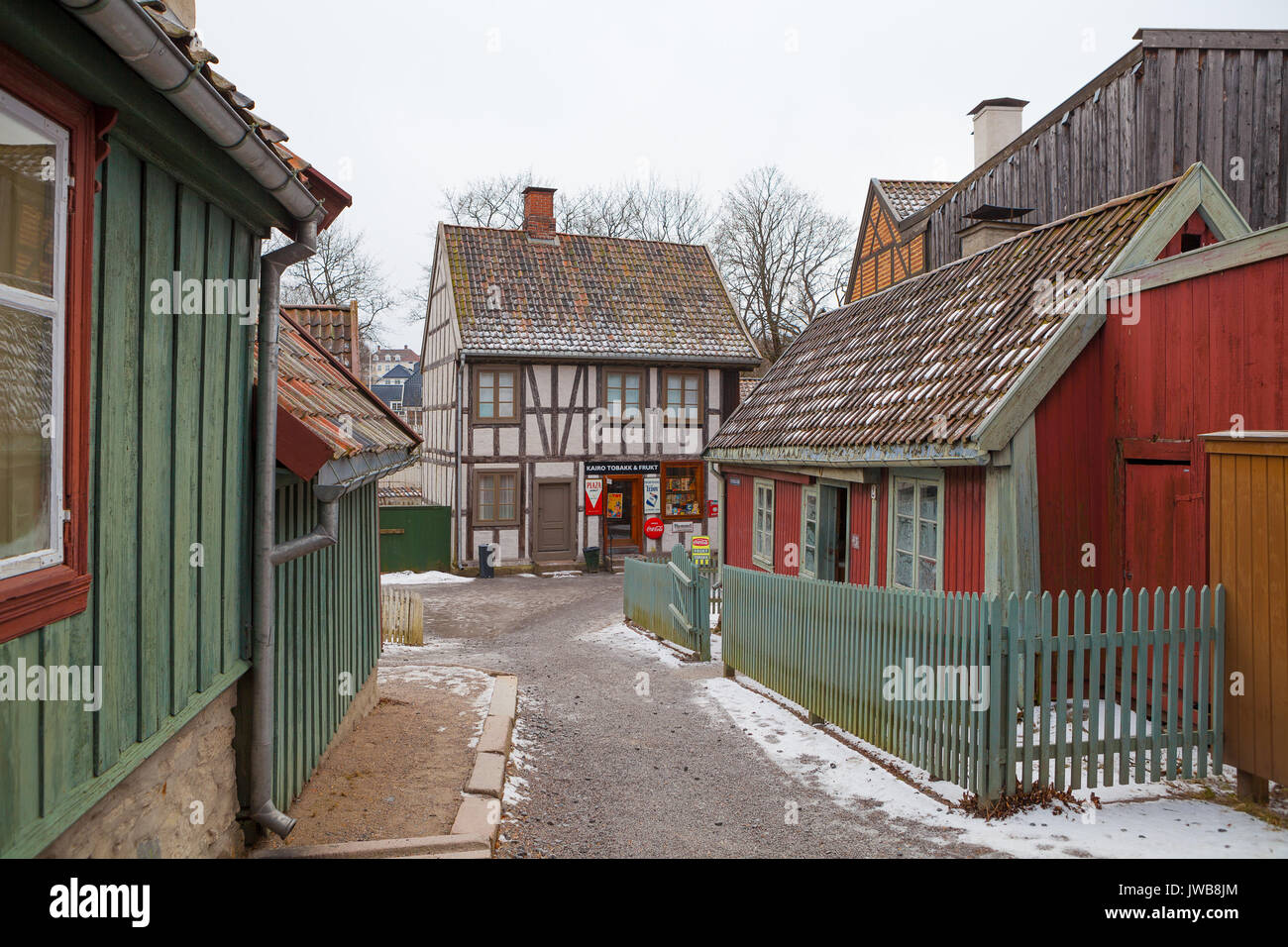 OSLO, NORWAY - 28 FEB 2016: Traditional Norwegian street with wooden houses. Old times in History of Norwegian culture Museum - Stock Image