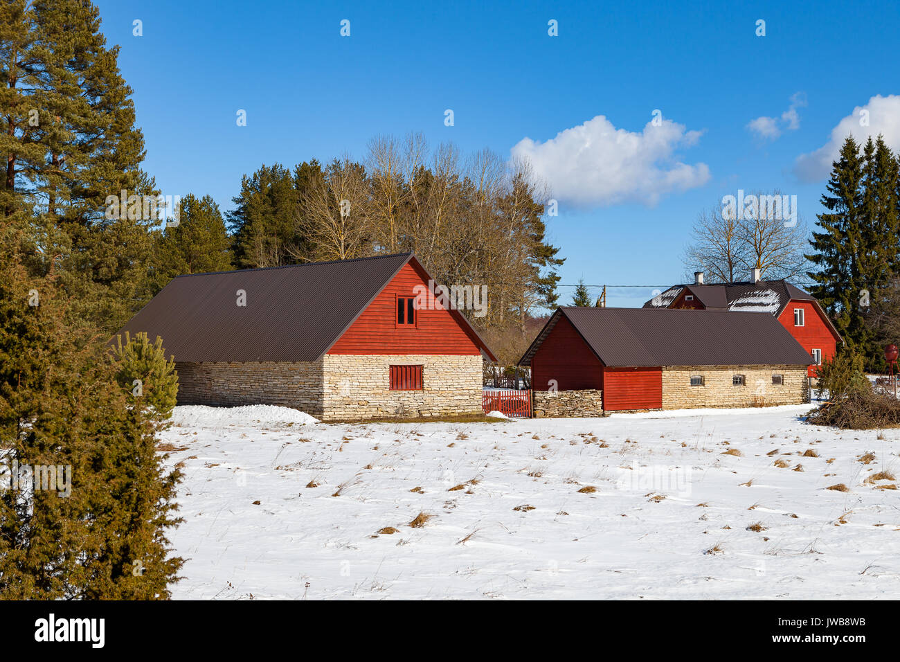 Stoned farm houses. Traditional Estonian architecture - Stock Image