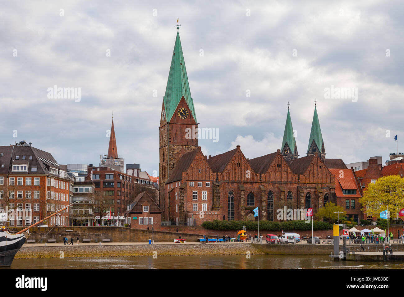 BREMEN, GERMANY - 16 APR 2016: St. Martin Church in old town along Weser river - Stock Image