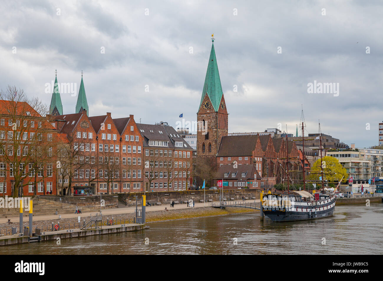 BREMEN, GERMANY - 16 APR 2016: View of old town along Weser river - Stock Image