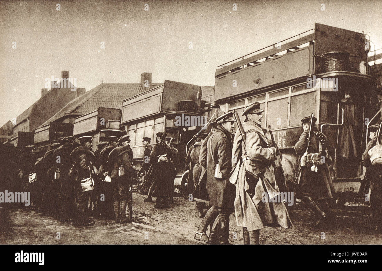 Boarding a Bus to the trenches, Flanders, WW1 - Stock Image