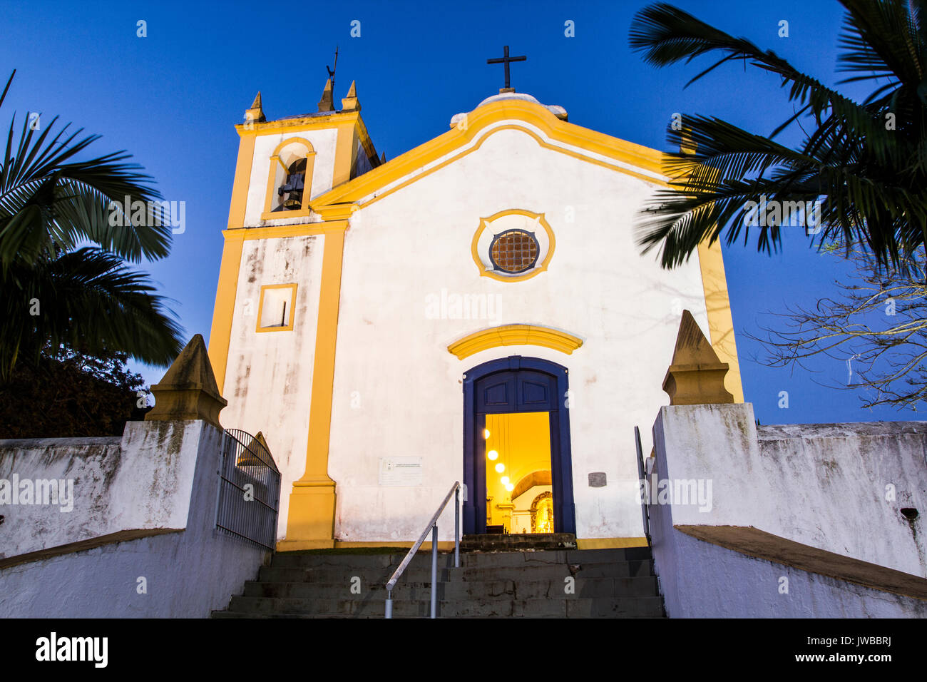 Nossa Senhora da Imaculada Conceicao Church, at Lagoa da Conceicao neighborhood, built in 1751. Florianopolis, Santa Stock Photo