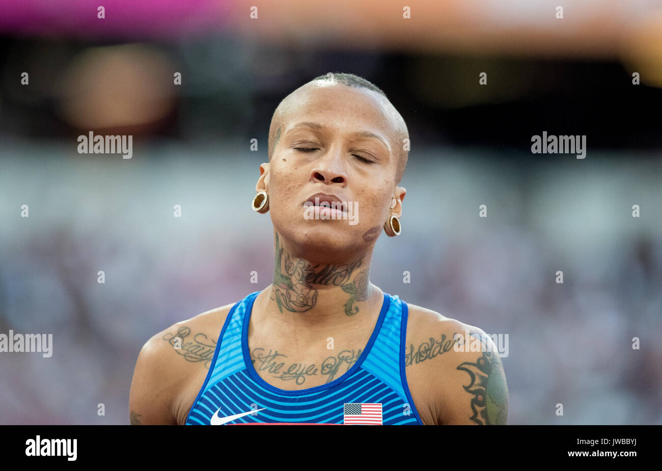 INIKA MCPHERSON of USA during the High Jump Qualifications at the IAAF World Athletics Championships 2017 - Day 7 at the Olympic Park, London, England - Stock Image