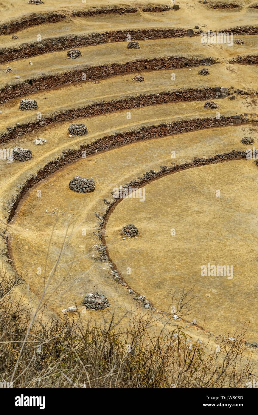 Concentric agricultural terraces, Moray Inca ruins, Cusco, Peru - Stock Image