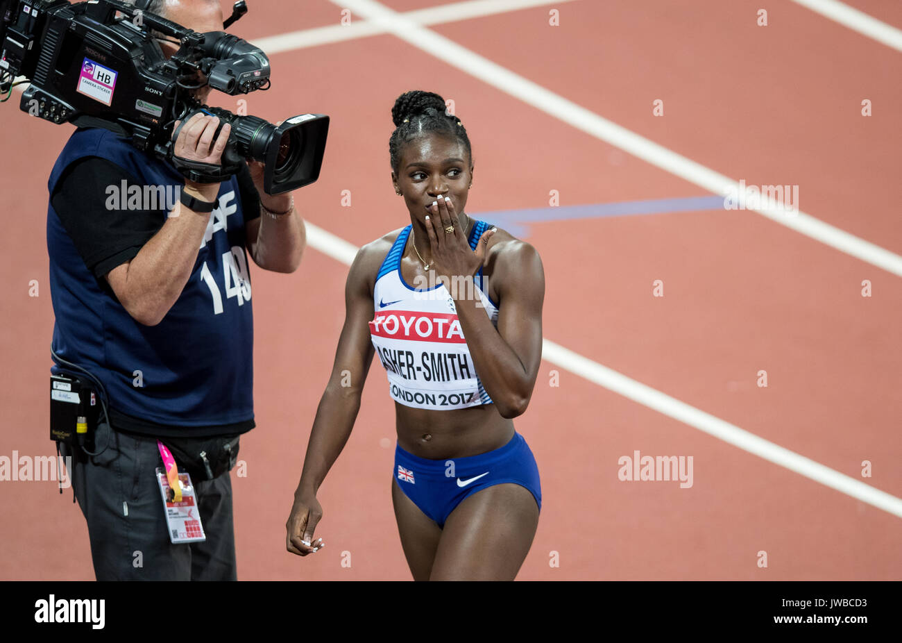 Dina ASHER-SMITH of GBR after finishing 2nd in her heat of the 200m semi final in a time of 22.73 (season best) during the IAAF World Athletics Champi - Stock Image
