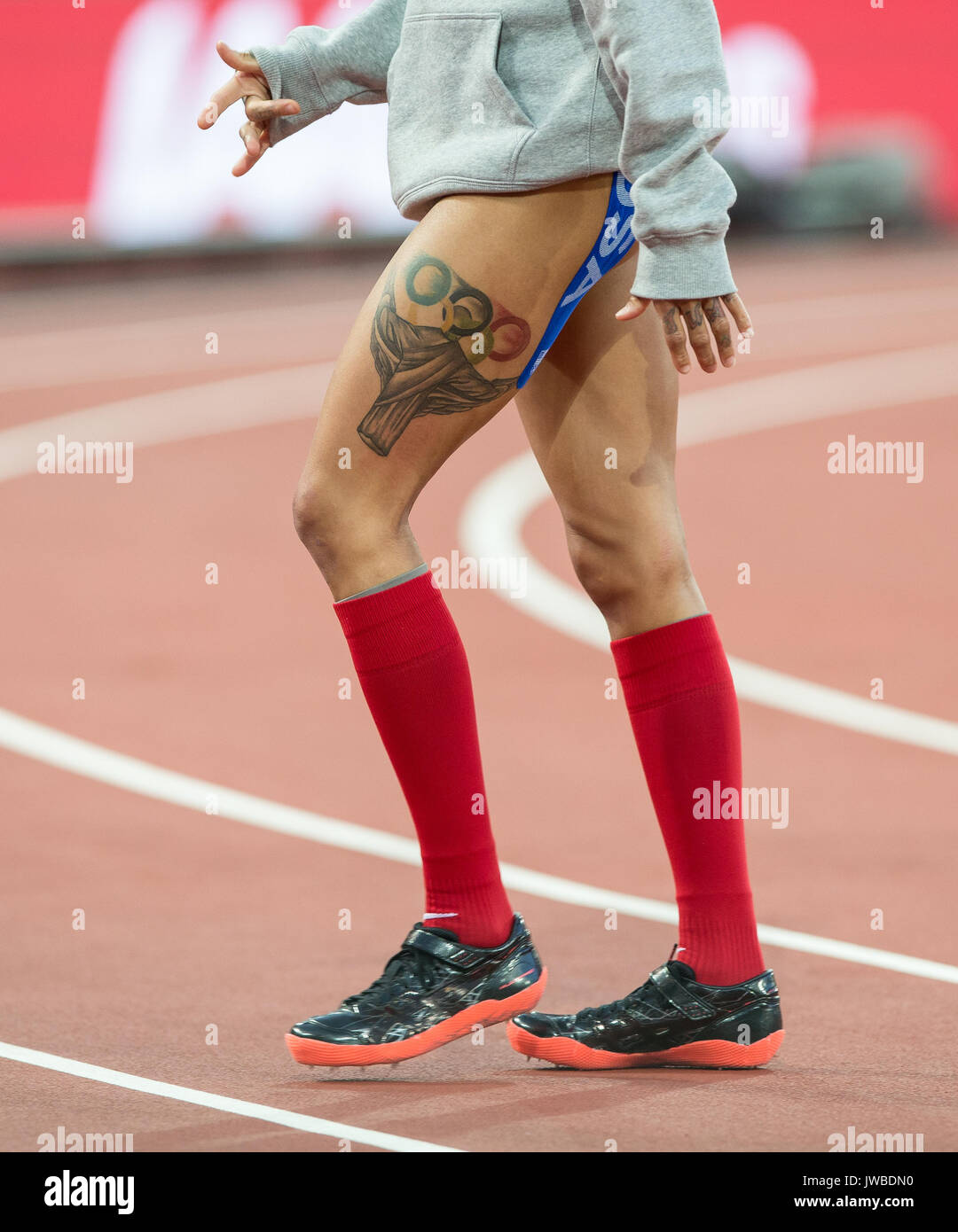 INIKA MCPHERSON of USA leg tattoo during the High Jump Qualifications at the IAAF World Athletics Championships 2017 - Day 7 at the Olympic Park, Lond - Stock Image