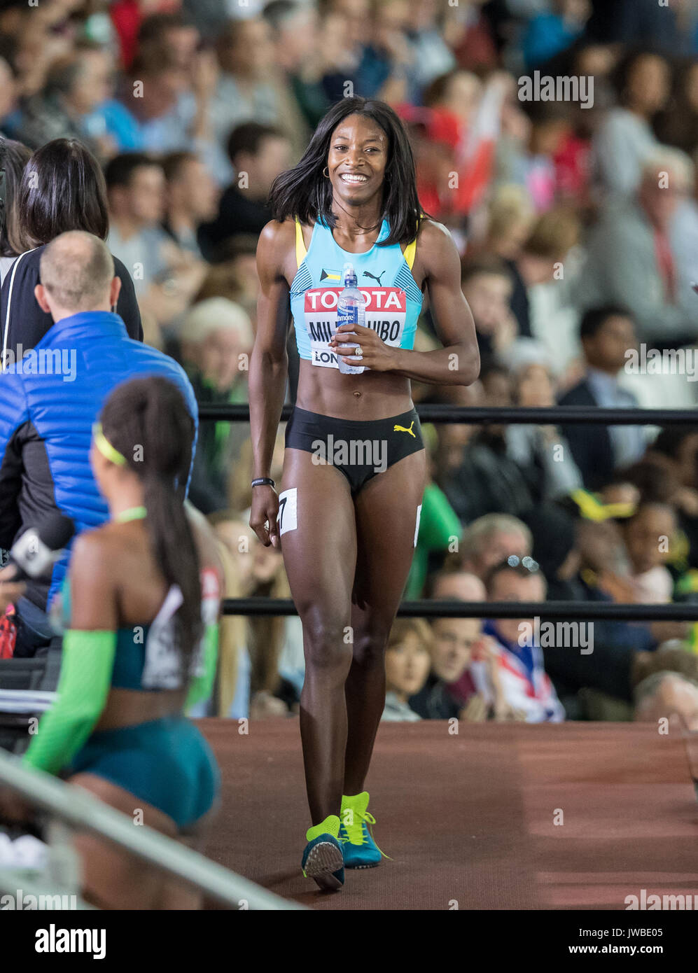 Shaunae MILLER-UIBO of The Bahamas after winning her Semi final heat in a time of 22.49 during the IAAF World Athletics Championships 2017 - Day 7 at  - Stock Image