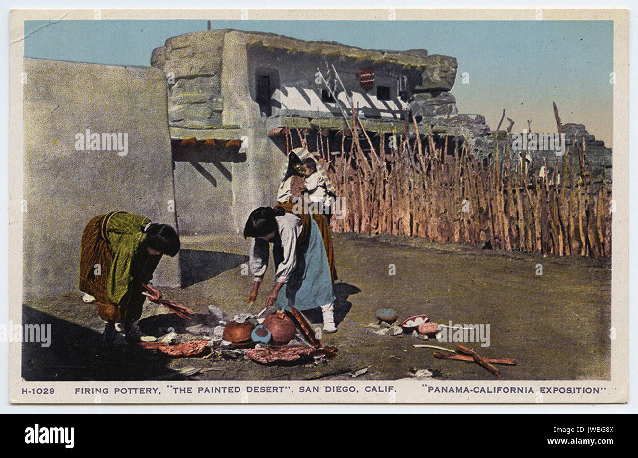 Firing pottery, ''The Painted Desert'', San Diego, Calif. - American Indian Postcards - Stock Image