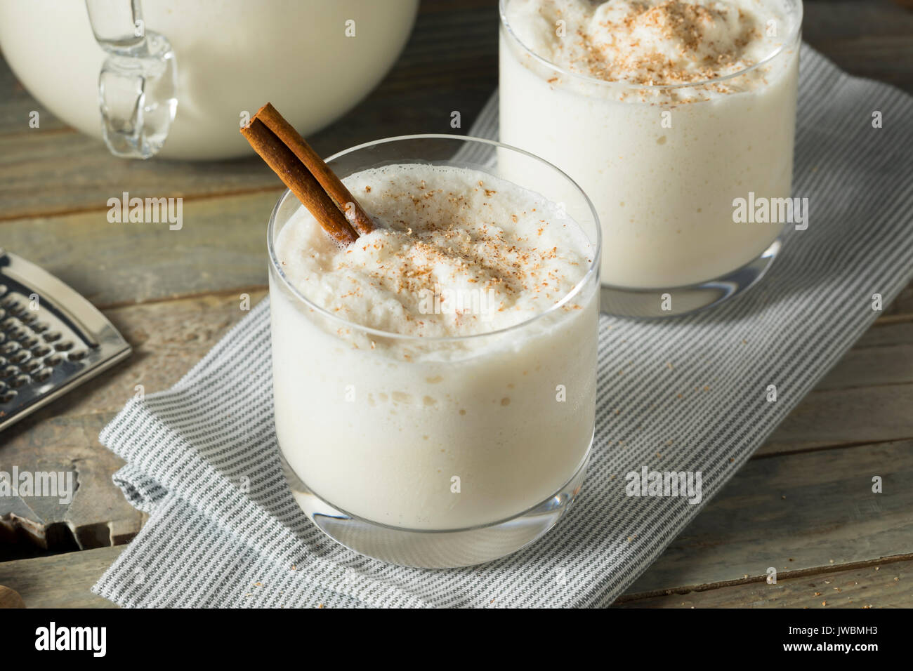 Homemade Frozen Bourbon Milk Punch with Cinnamon and Nutmeg - Stock Image