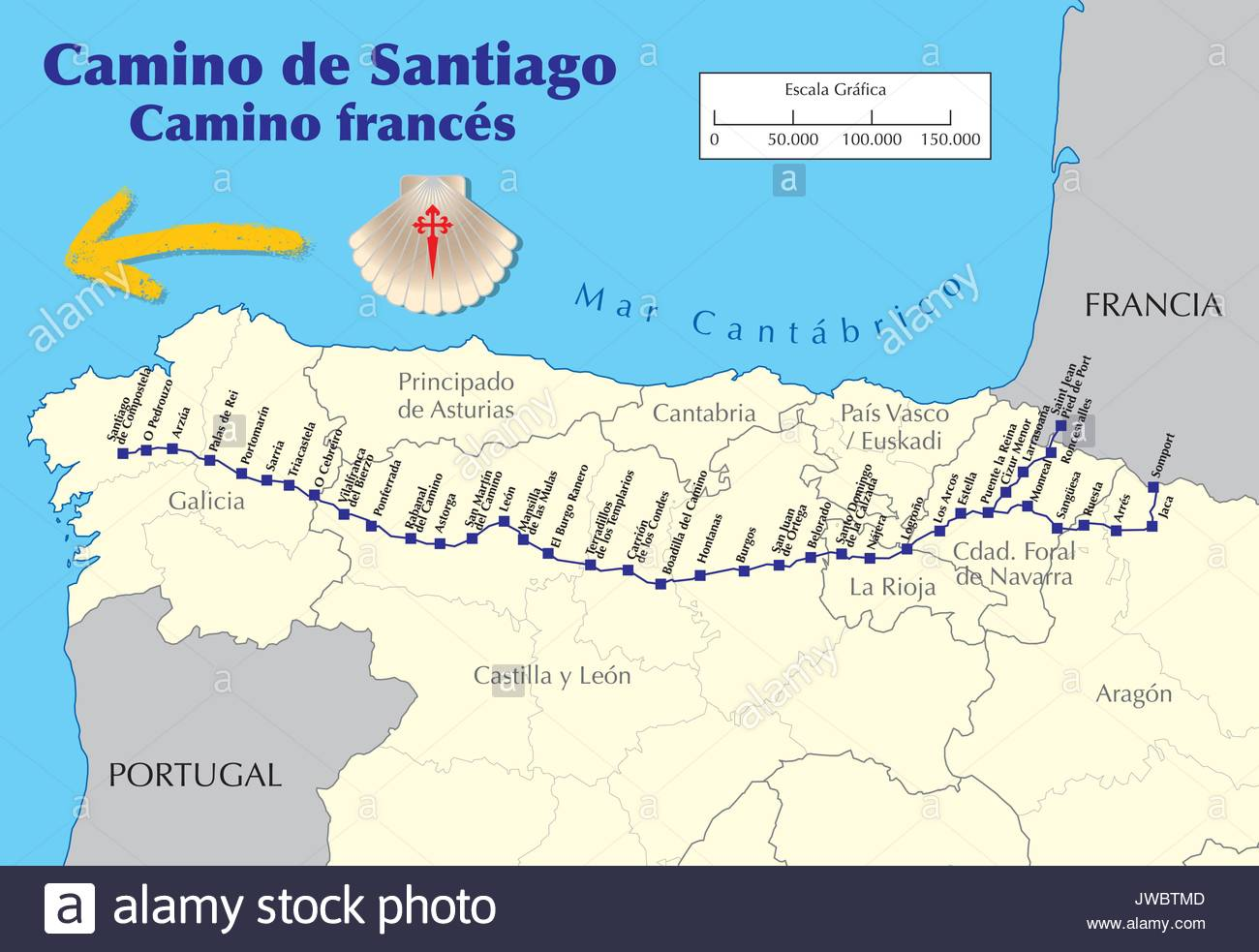 Mapa Caminos De Santiago.Map Of Camino De Santiago Map Of Saint James Way With All