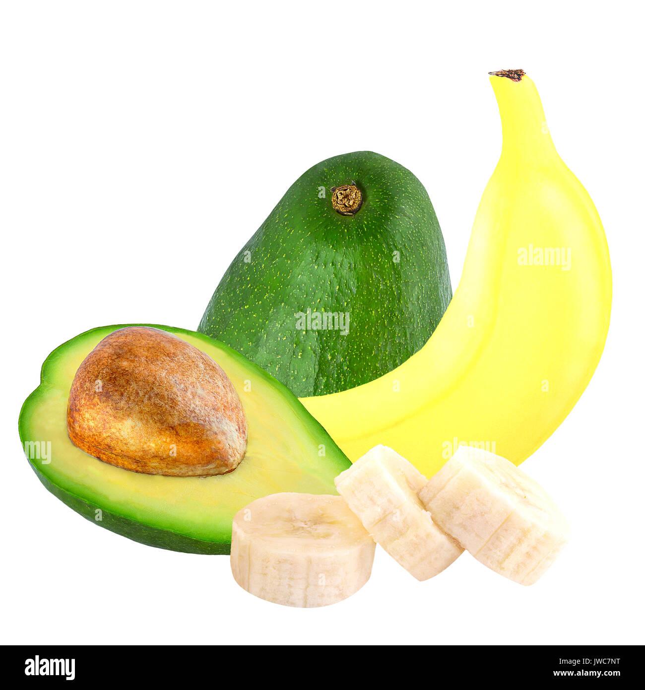 Isolated fruits. Banana and avocado isolated on white background ias package design element. - Stock Image