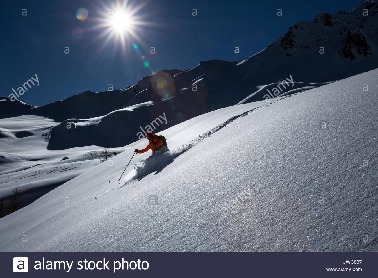 Skiing downhill at Forca Rossa,near Marmolada. - Stock Image