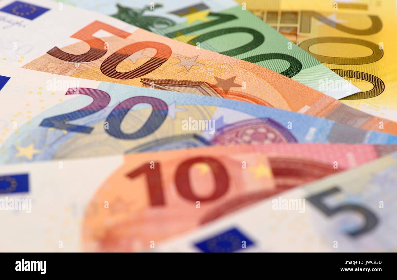 bundle of euro currency - Stock Image