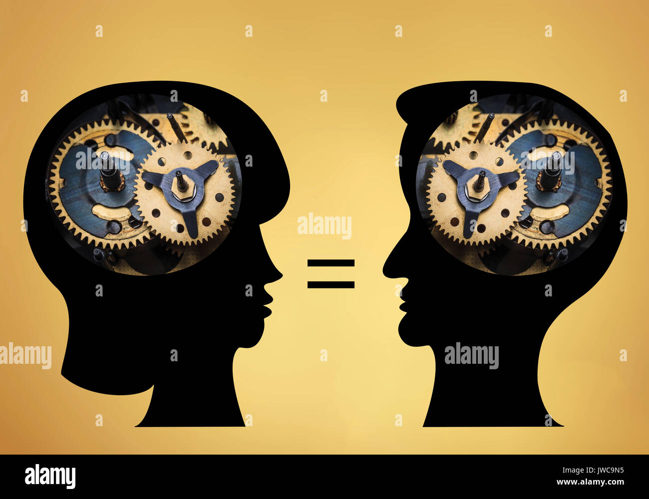 The male and female heads is filled with gears on gold background. - Stock Image