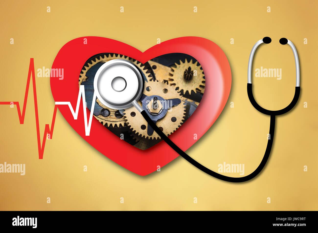 Heartbeat Line Heart Cardio - Stock Image