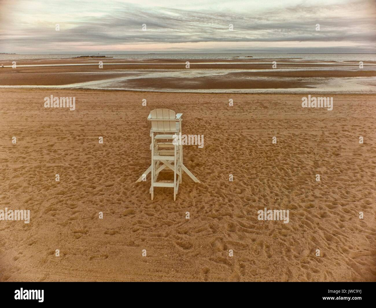 A lifeguard observation chair on a beach in New Haven,Connecticut. - Stock Image