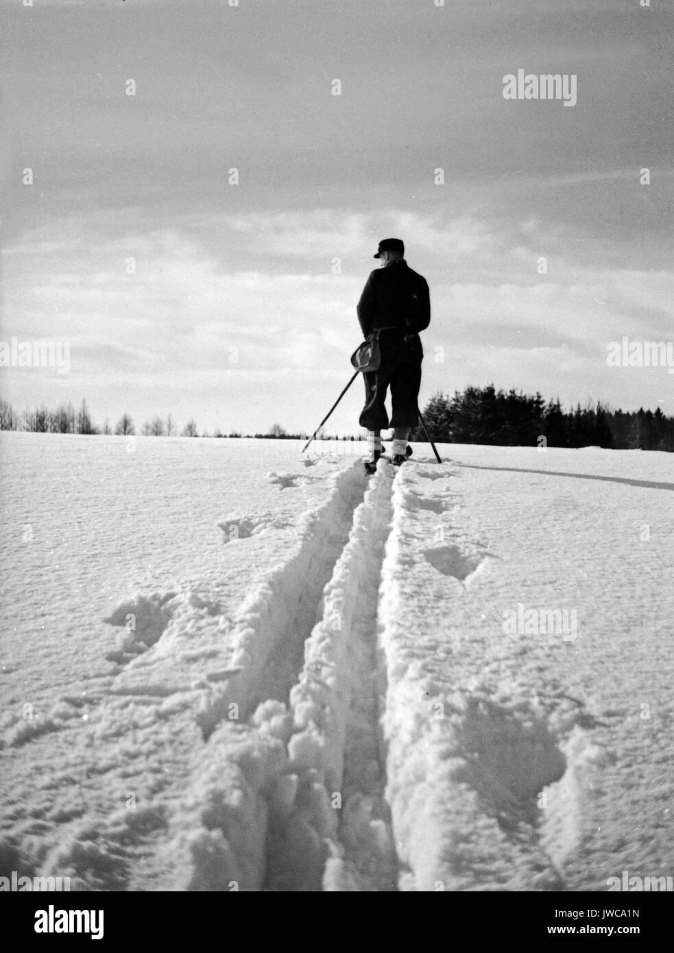 Skier leaving tracks in snow. - Stock Image