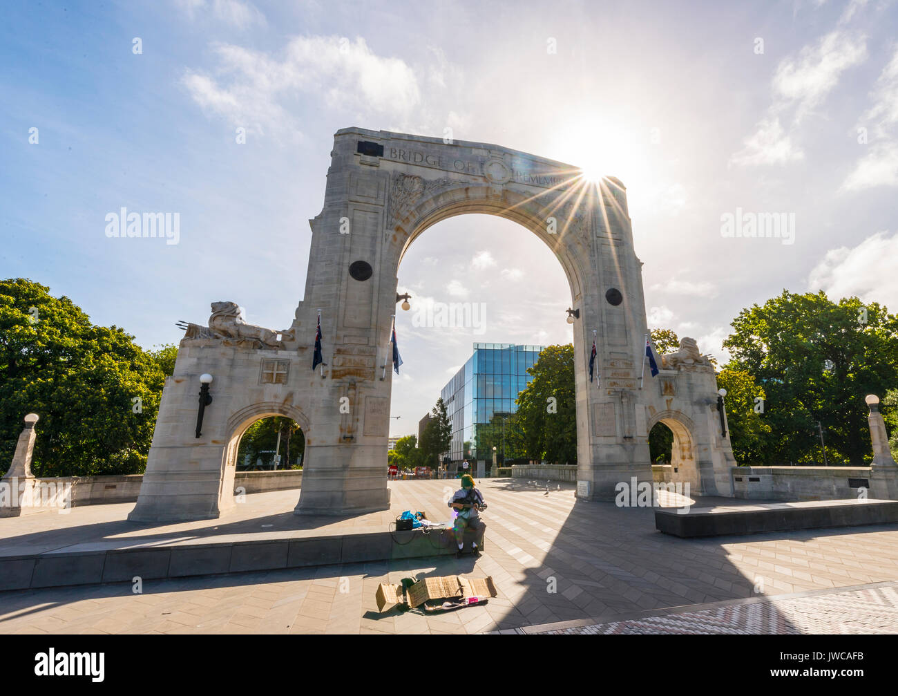 Bridge of Recollection, Bridge of Remembrance, Christchurch, Canterbury, South Island, New Zealand, Oceania - Stock Image