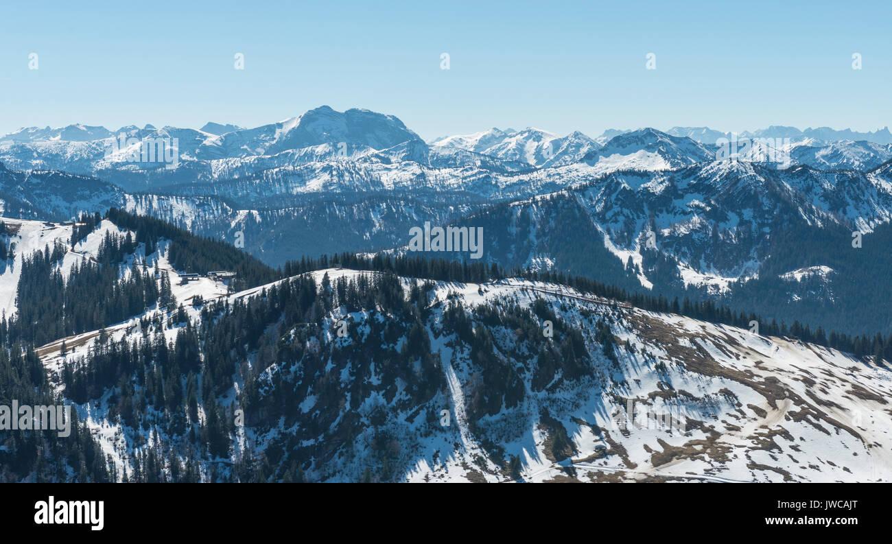View from the Brecherspitz on pre-Alps with snow, rear Alpenhauptkamm, Schliersee, Upper Bavaria, Bavaria, Germany Stock Photo