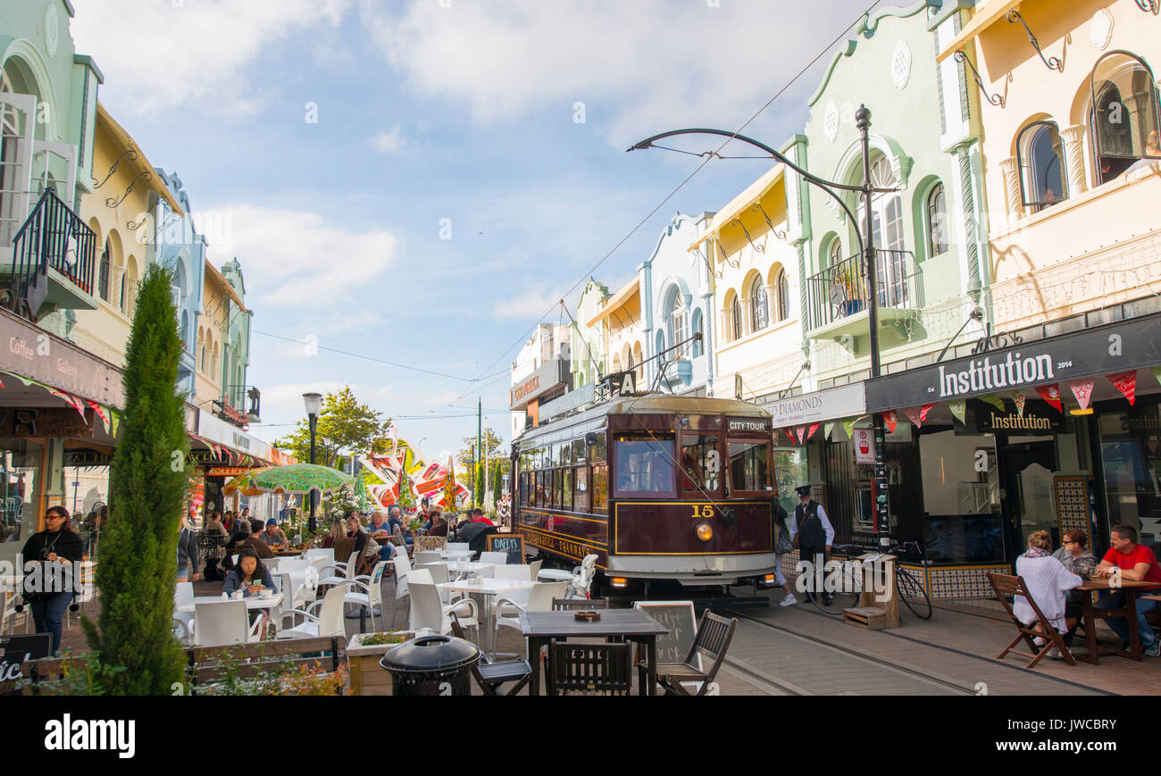 Historic centre with Tram, Cable Car Christchurch, Canterbury, South Island, New Zealand, Oceania - Stock Image