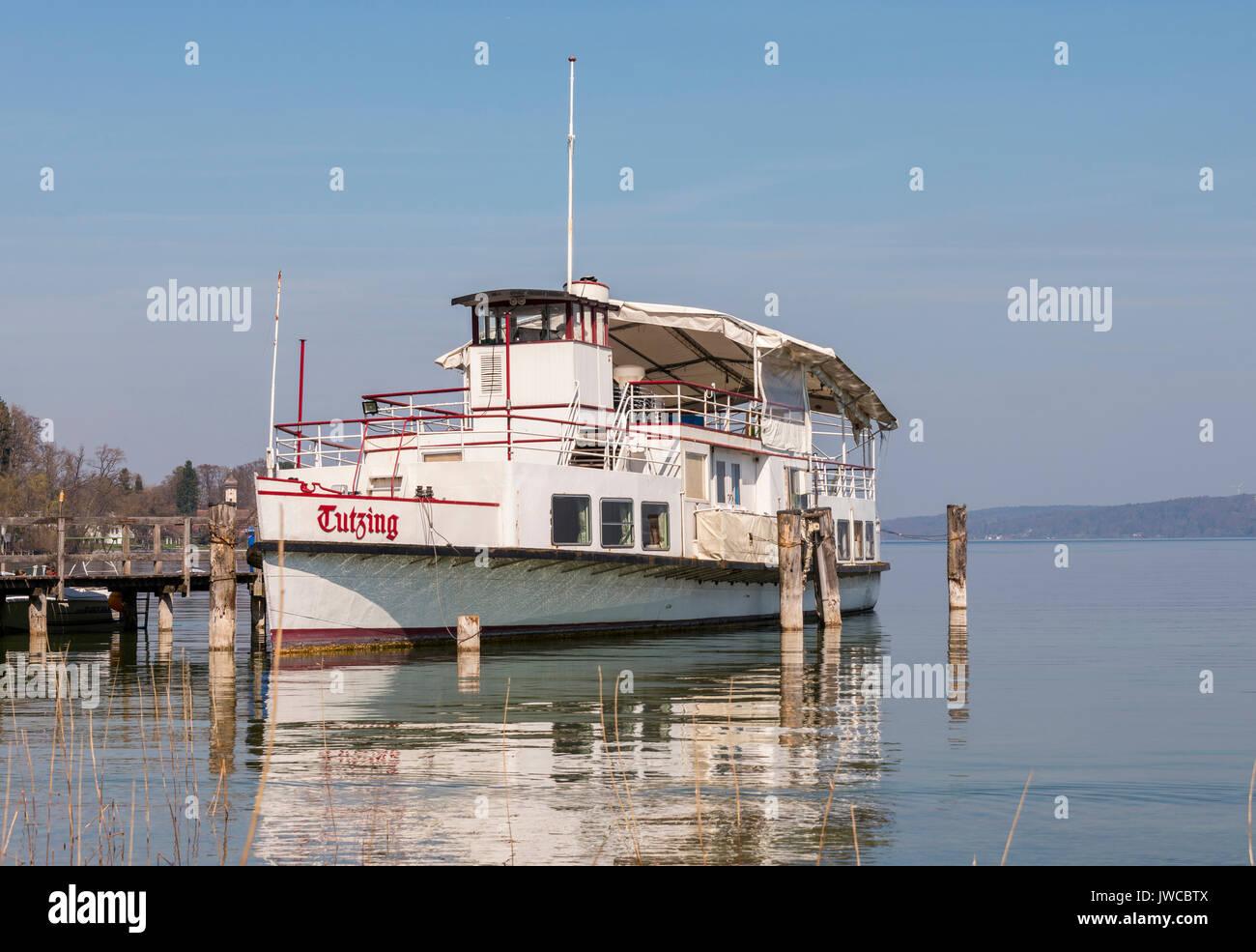 Passenger ship Tutzing at a jetty, European Starnberger See, Upper Bavaria, Bavaria, Germany - Stock Image