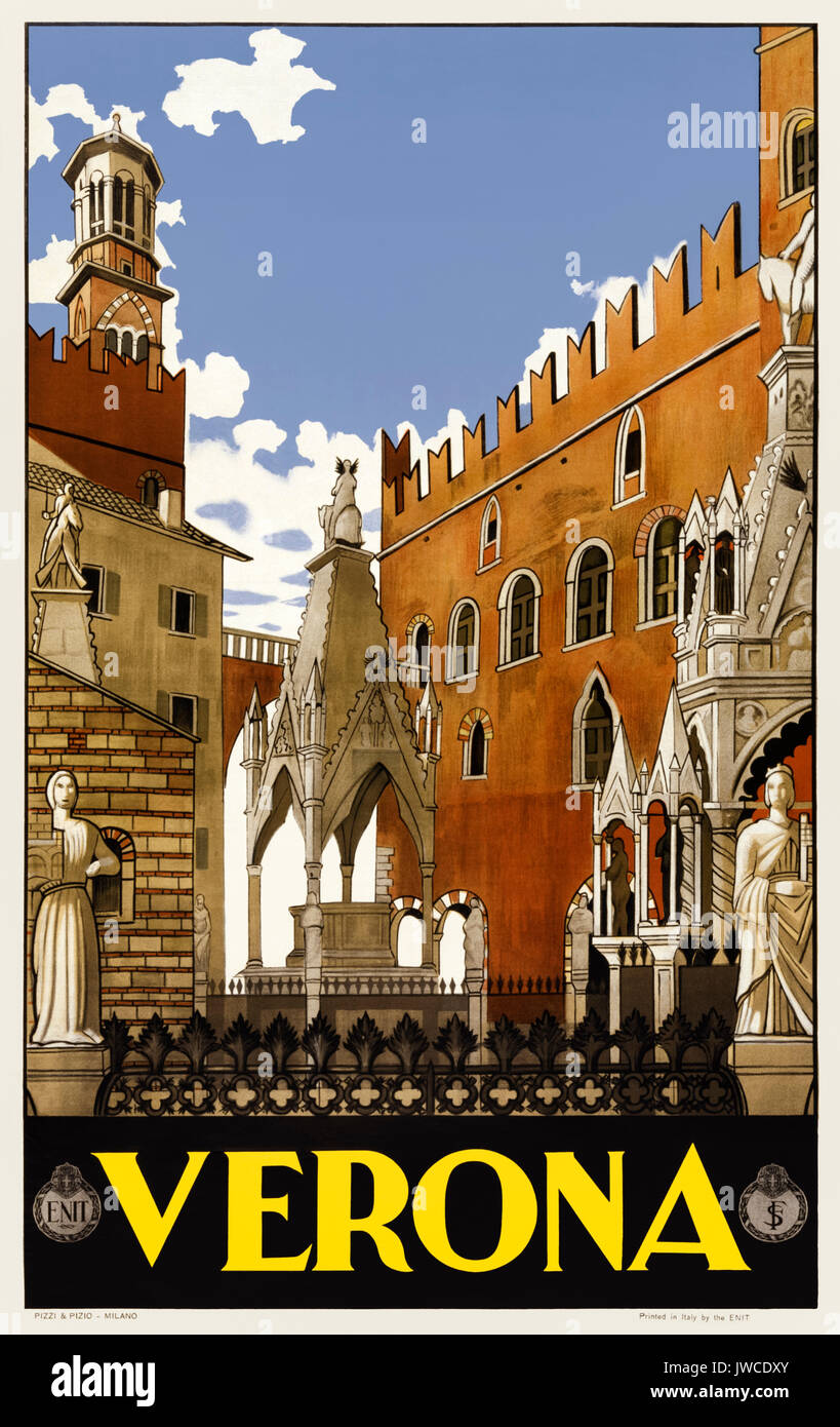 'Verona' 1930s Tourism Poster featuring the city's Scaliger tombs published by Ferrovie dello Stato (FS -Italian State Railways) and ENIT (Agenzia nazionale del turismo - Italian Tourist Board). - Stock Image