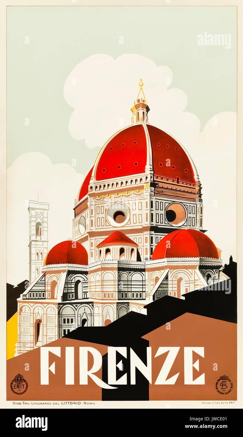 'Firenze' (Florence) circa 1930 Tourism Poster featuring Giotto's Campanile and the Duomo. Published by Ferrovie dello Stato (FS -Italian State Railways) and ENIT (Agenzia nazionale del turismo - Italian Tourist Board). - Stock Image