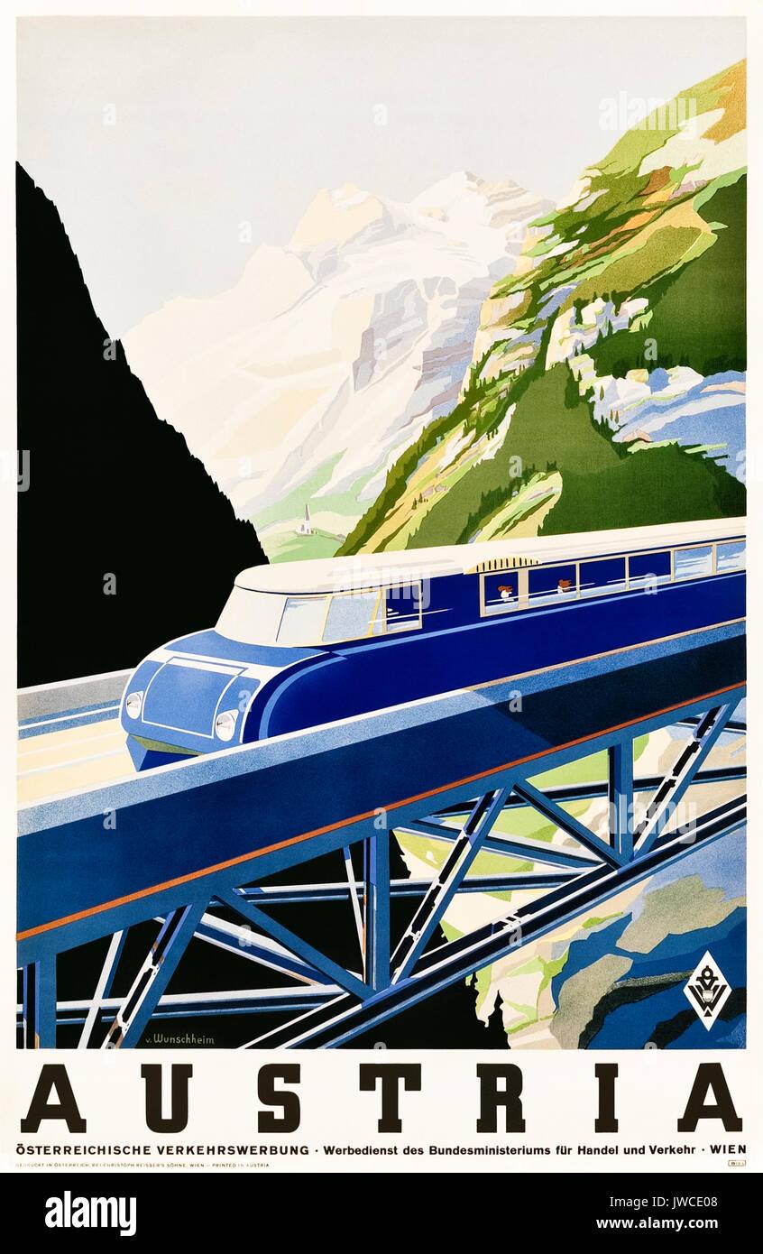 'Austria' 1930s Tourism Poster showing a streamline Austro Daimler BBÖ VT 63 train crossing a bridge. Artwork by Erich von Wunschheim for Österreichische Verkehrswerbung (Austrian transport advertising). - Stock Image