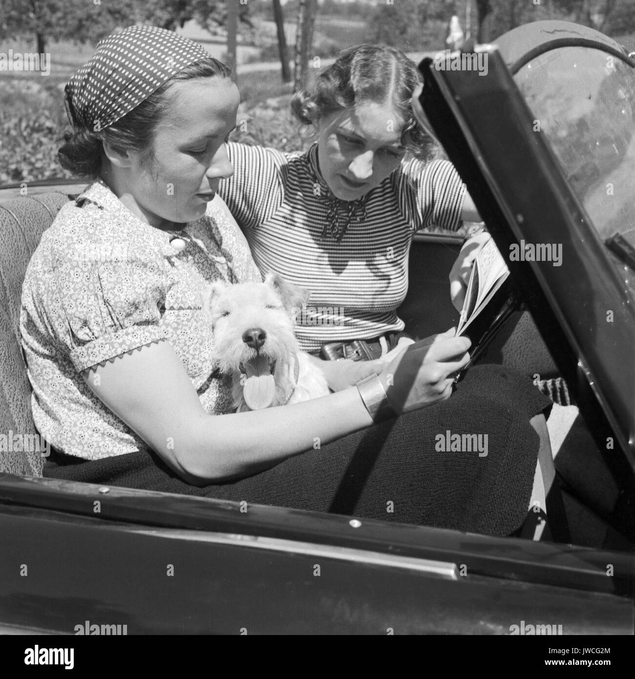 Two women sitting in parked convertible with their dog. - Stock Image