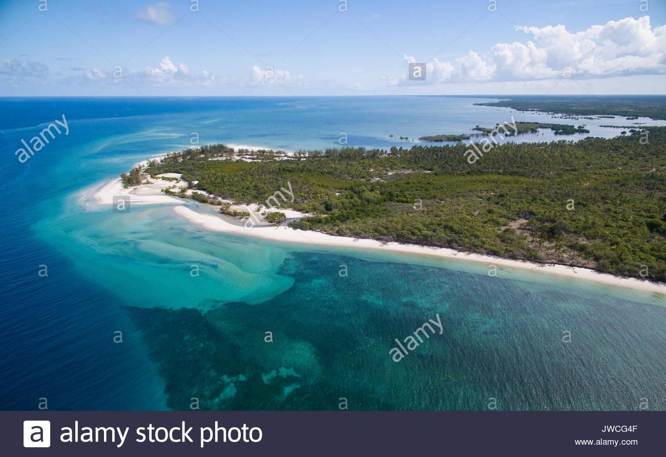 Aerial views of the Mafia Island coastline. - Stock Image