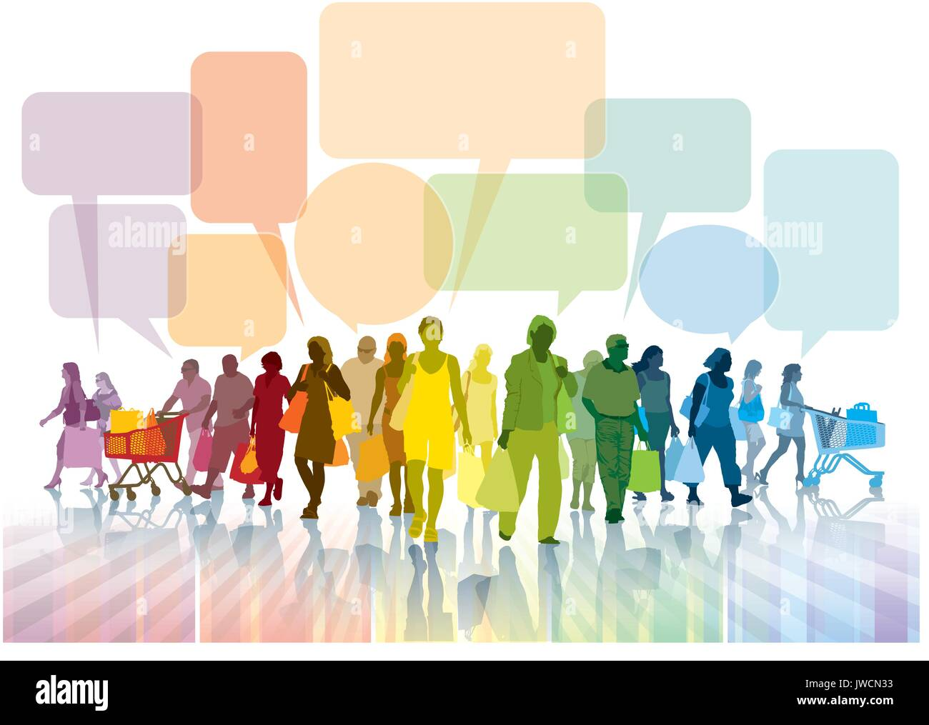 Colorful crowd of people with bags is walking and talking about shopping. - Stock Vector
