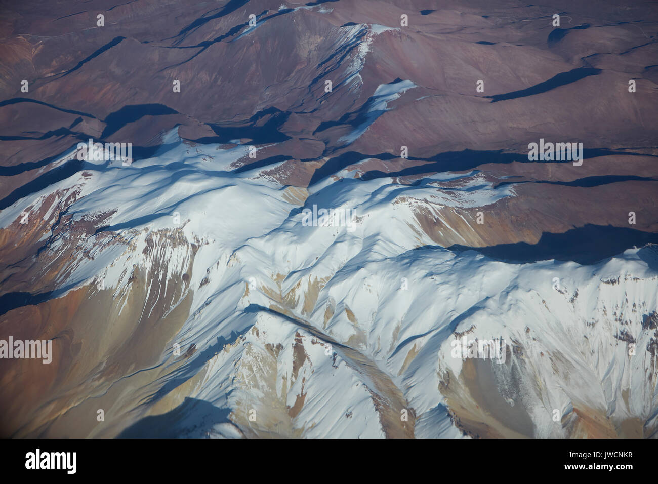 Alto Toroni (Cerro Sillajguay, 5995m/19,669ft), Andes Mountain Range, Chile - Bolivia border, South America - aerial - Stock Image