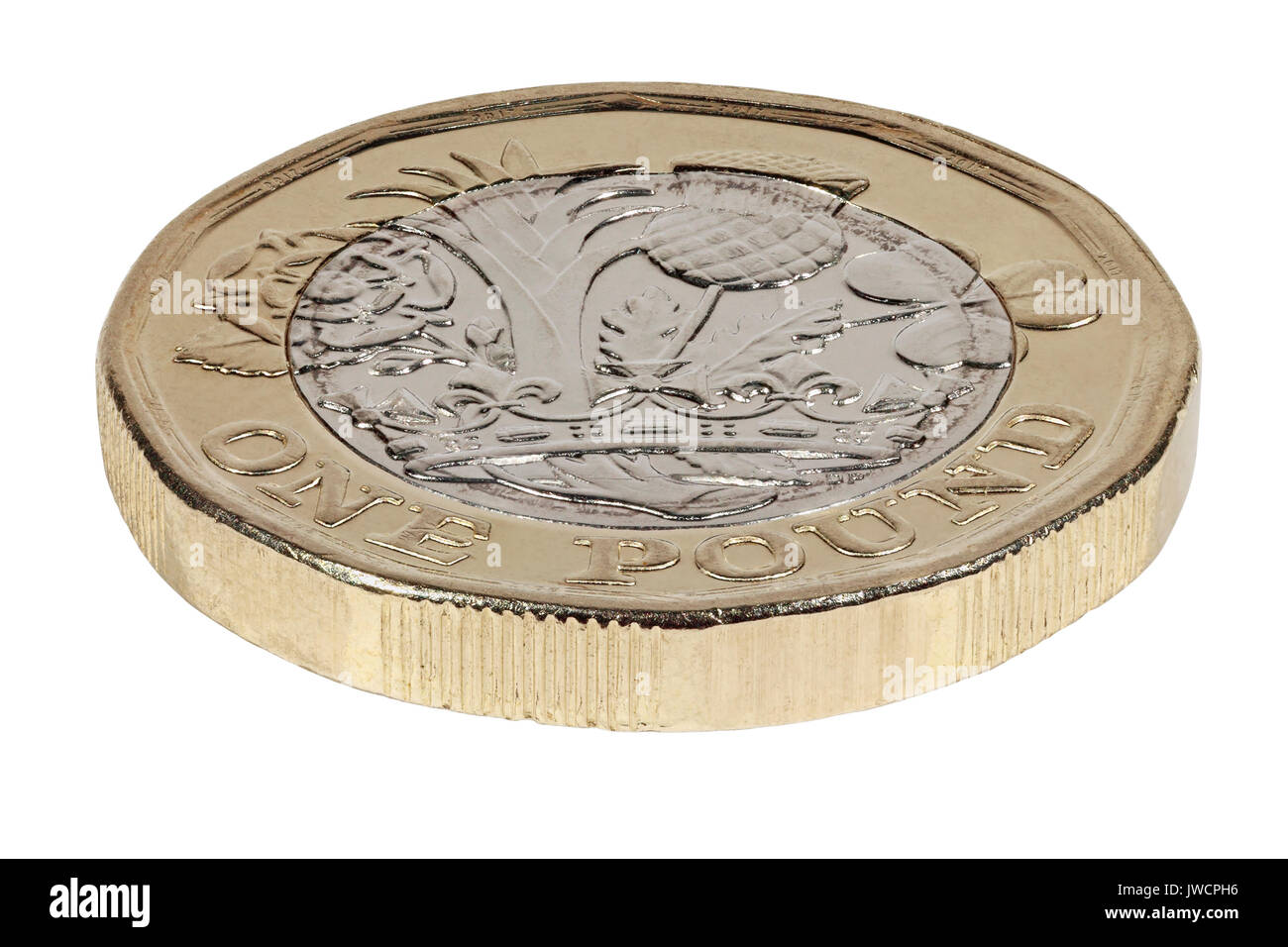 New 2017 £1 coin, reverse side, tails, depicting the rose, leek, thistle and clover representing Great Britain  Stock Photo