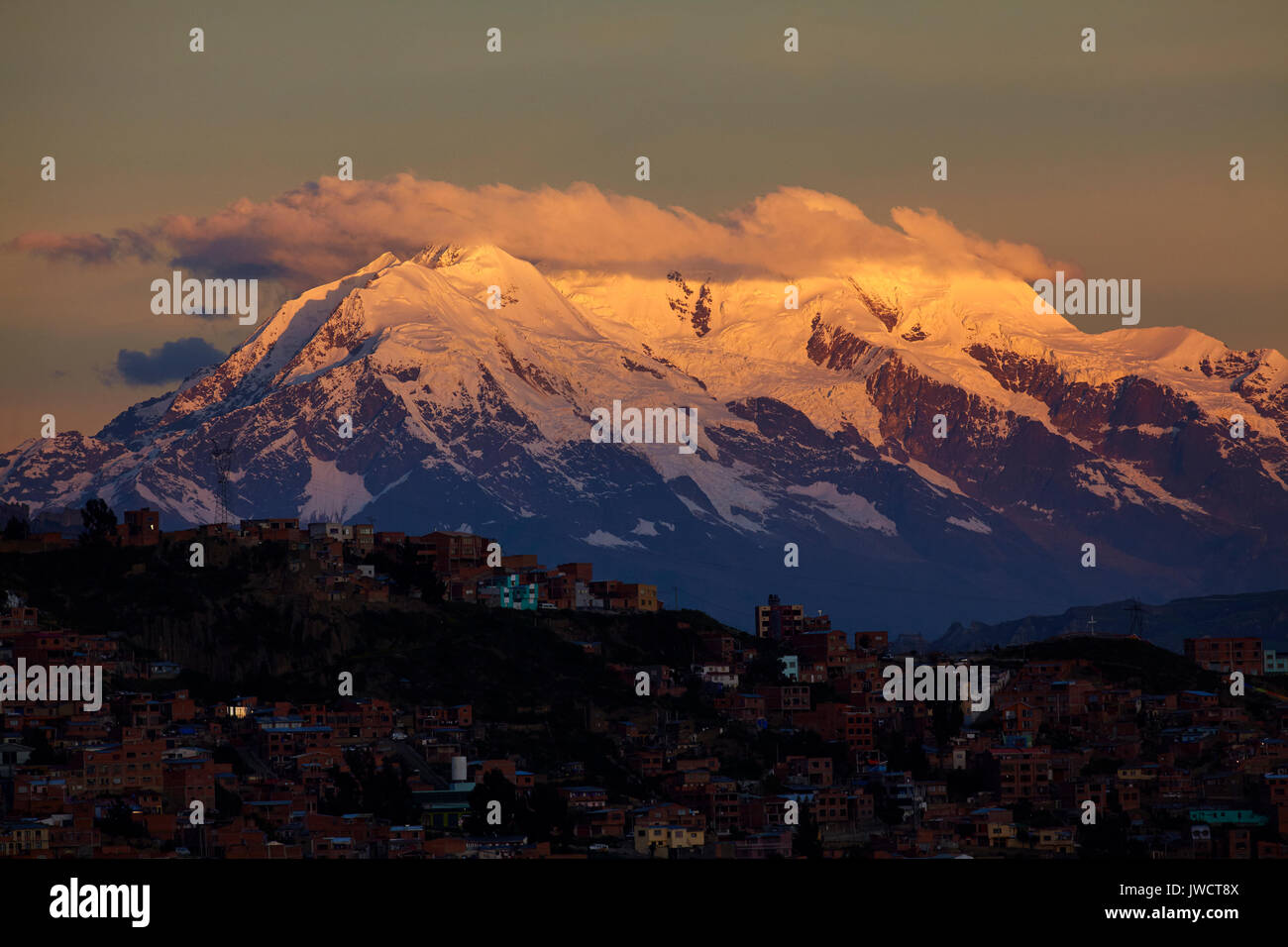 Sunset on Illimani (6438m/21,122ft), La Paz, Bolivia, South America - Stock Image