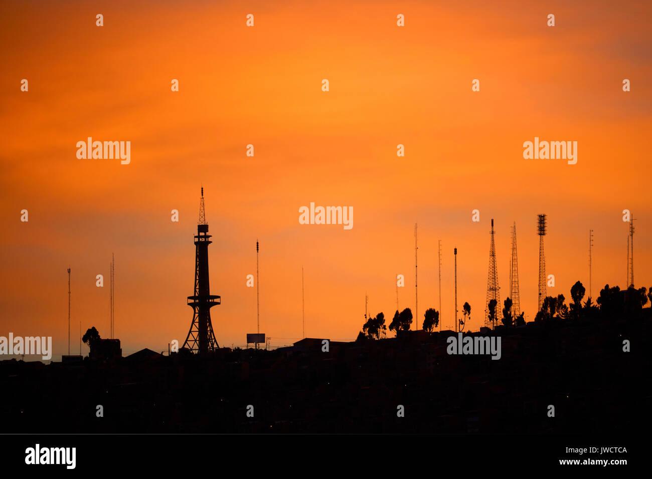 Sunset and aerials, La Paz, Bolivia, South America - Stock Image