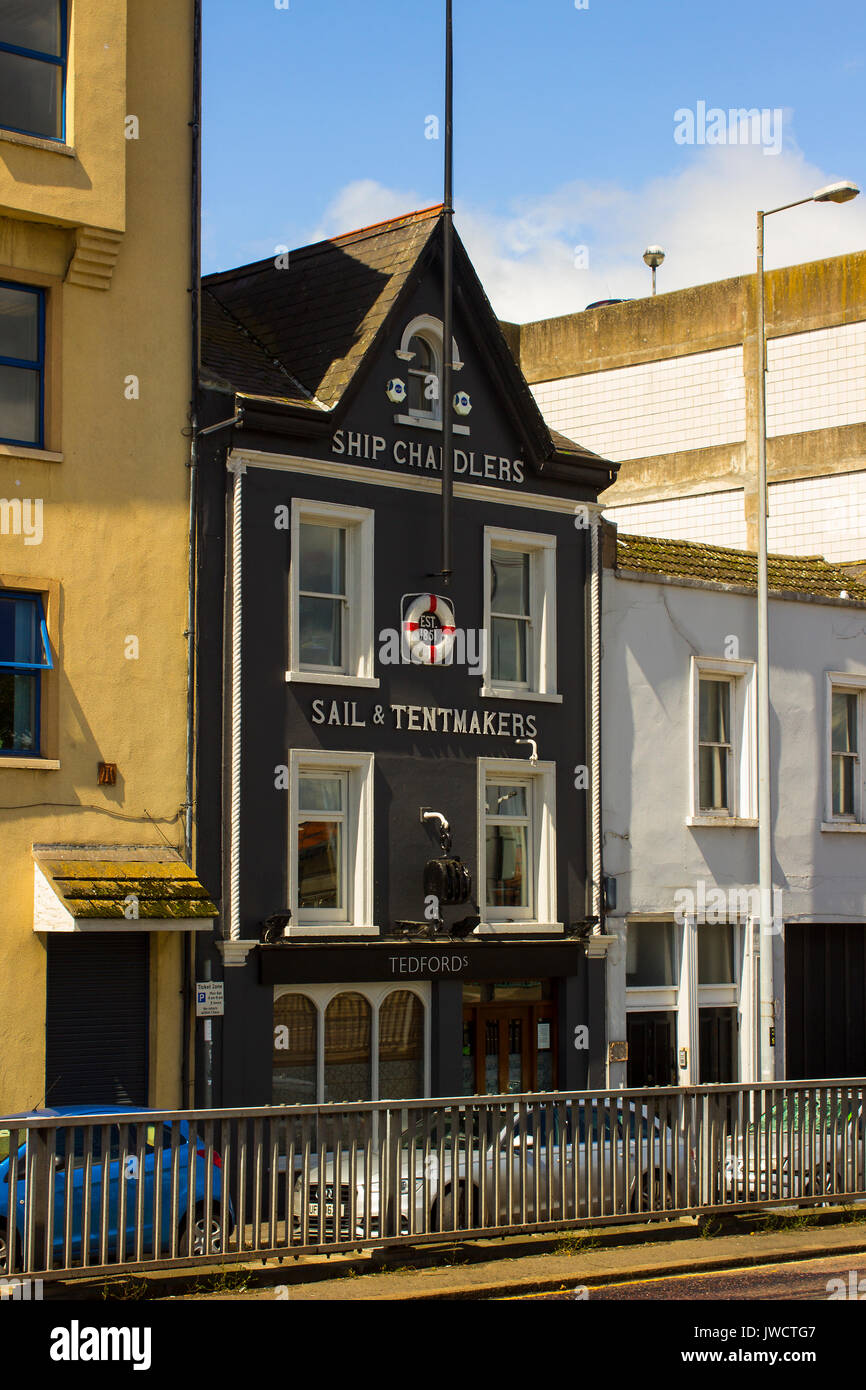 The original business premises of Tedford's who are the oldest ship chandlers in Belfast, Northern Ireland. The Stock Photo