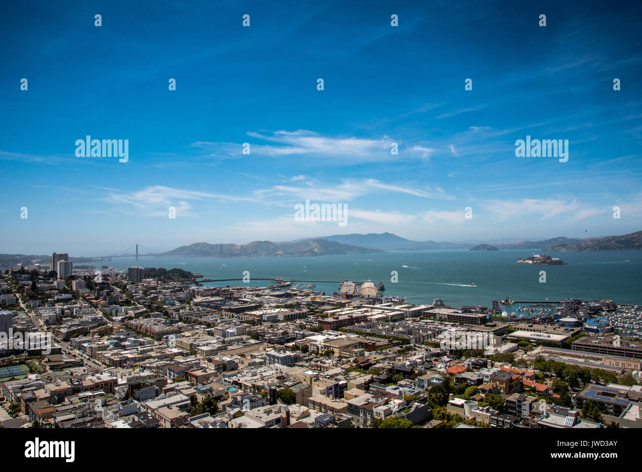 Aerial Landscape View of Bay - Stock Image