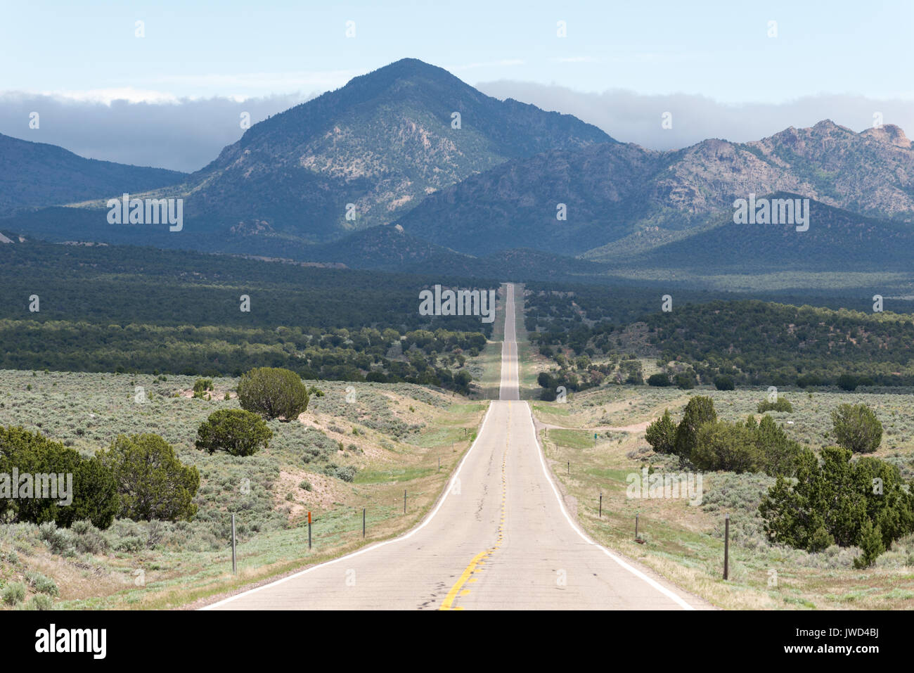 Highway 56 in Western Utah. Stock Photo