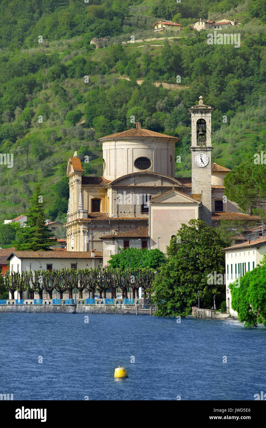 San Zenone church, Sale Marasino on Iseo lake, Brescia, Lombardy , Italy - Stock Image