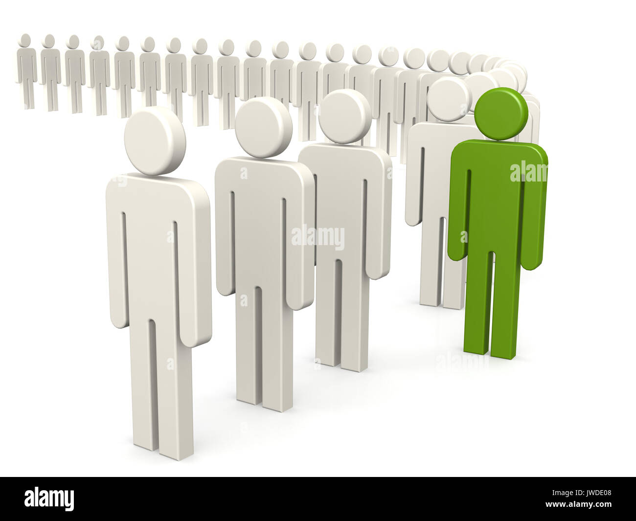 Outstanding person in green from queue 3d rendering stock photo outstanding person in green from queue 3d rendering ccuart Images
