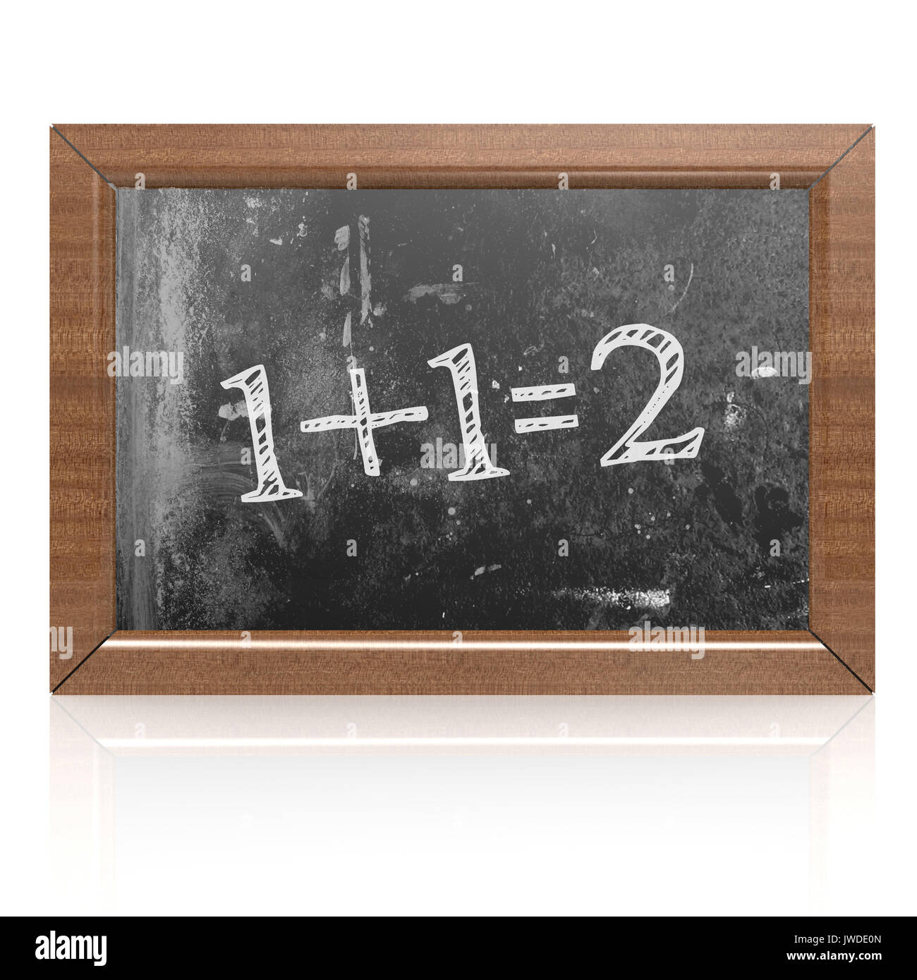 Sum one plus one equals two written on blackboard, 3D rendering Stock Photo