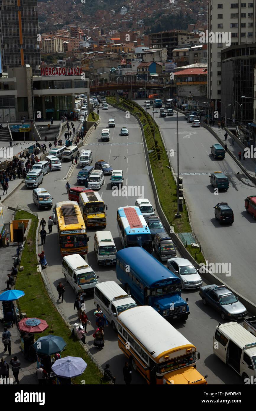 Traffic congestion, La Paz, Bolivia, South America - Stock Image