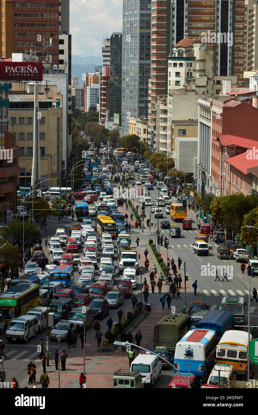 Traffic congestion, La Paz, Bolivia, South America - Stock Image