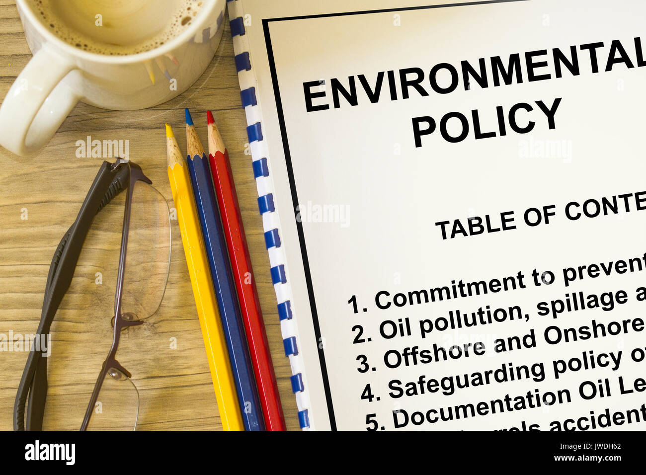 Environmental policy and safeguarding concept- with table of contents on a lecture coversheet. - Stock Image