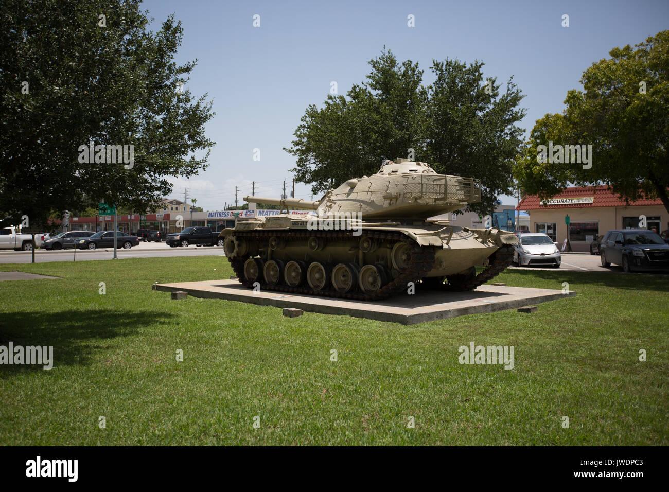 Old United States Army Tank at a war memoral display. Stock Photo