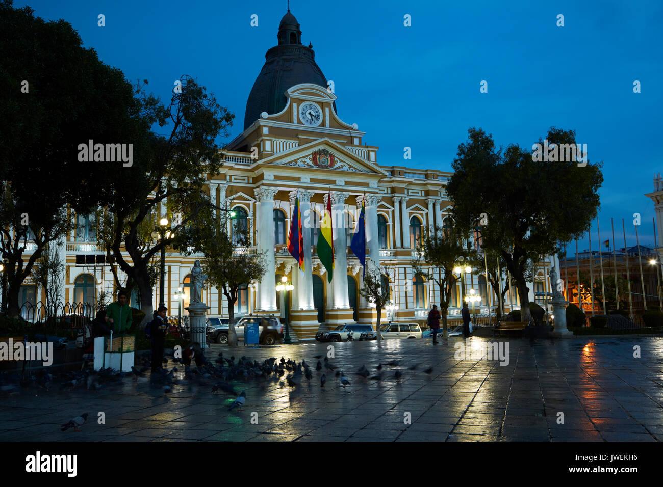 National Congress of Bolivia building at dusk, Plaza Murillo, La Paz, Bolivia, South America - Stock Image