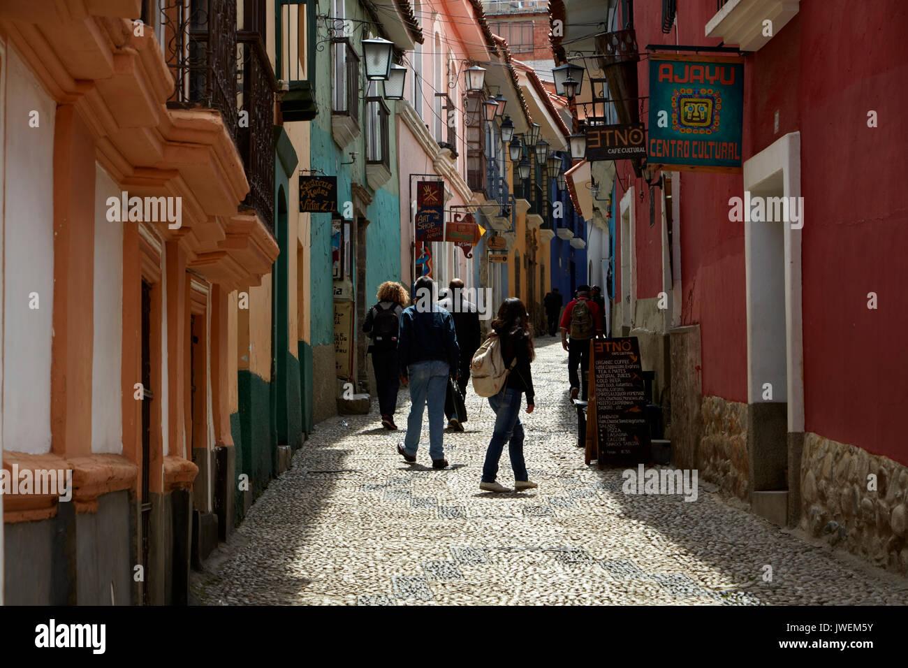 Narrow steep cobbled street of Calle Jaen, La Paz, Bolivia, South America - Stock Image