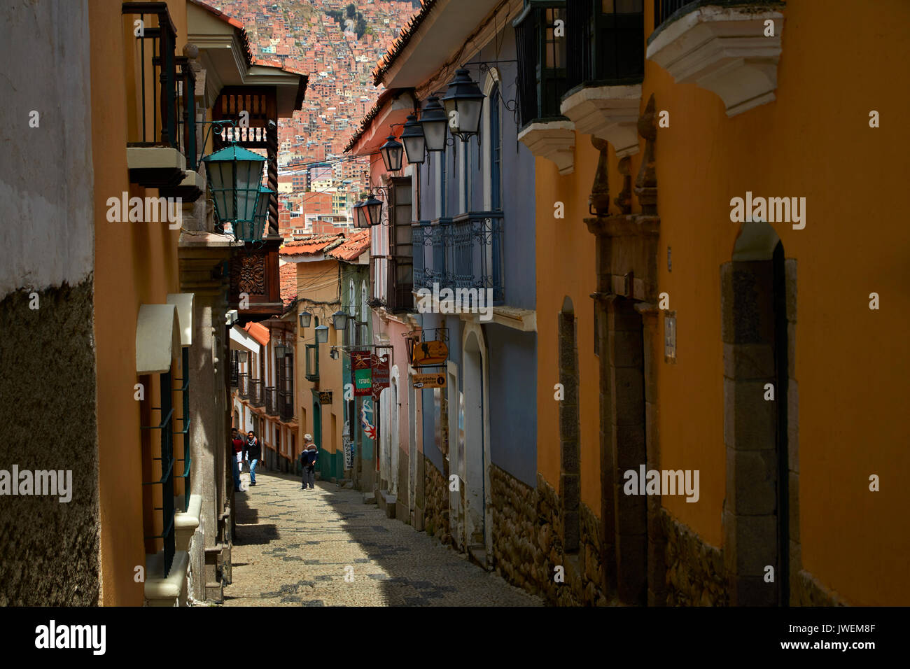 Narrow steep cobbled street of Calle Jaen, La Paz, Bolivia, South America Stock Photo