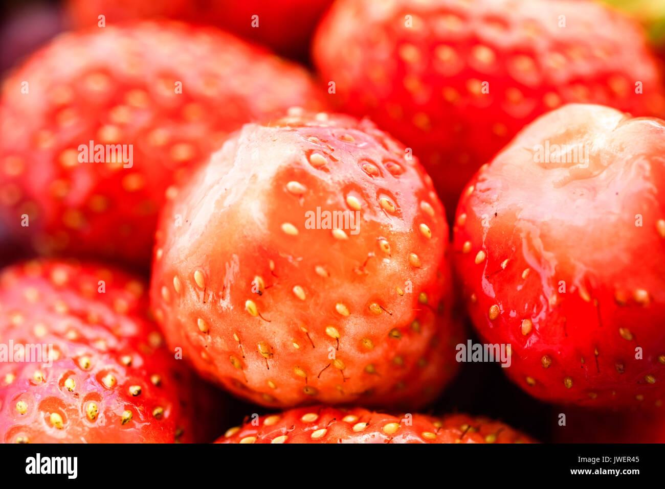 Strawberry Makro texture - Stock Image